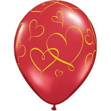 Party Supplies Wedding Birthday Romantic Hearts Gold Ink  Balloons Pack of 10