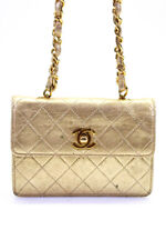 Chanel Womens Timeless Metallic Leather Wallet On Chain Gold Tone