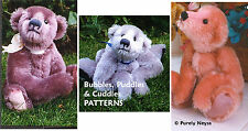 """Mohair """"Bubbles, Cuddles, Puddles""""  3 Teddy Bear PATTERNS by Neysa A. Phillippi"""