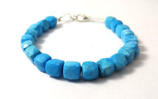 "Natural Turquoise Gemstone 6-8mm 3D Cube Box Faceted Beads 7"" Inch Bracelet"