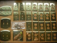 Brass Switch Outlet Plates 28 pc SET Heavy Excellent Quality/Cond w/Brass Screws