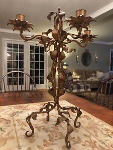 "Large 22"" VTG 4 Candle Italian Gold Gilt Metal Tole Candelabra  Leaves & Flowers"