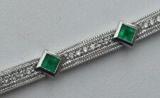 """18k White Gold Genuine Diamond & Emerald 19-Gram High-end Designer 7"""" Bracelet"""