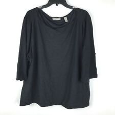 Valerie Separates Women's Plus Size 2X Black Nylon Blend 3/4 Sleeve Shirt Top