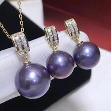 Certification Natural Purple Pearl 18K Gold Inlay Pendant Earrings Set Gifts