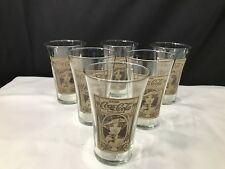 Set 6 Vintage Coca Cola Flaired Collectors Glasses. EUC