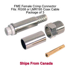 FME Female Crimp Connector - RG58 / LMR195 3 Pack  *** Ships from CANADA ***