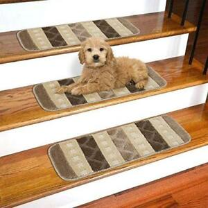 "Ottomanson SST1078-9X26 Softy Striped Carpet Stair Treads, 9"" x 26', Brown"