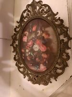 """Vtg Made in Italy Oval Brass Frame Floral Picture Convex Bubble Glass 10"""" x 7"""""""