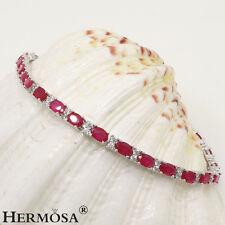 "Hermosa ® 925 Sterling Silver Charm Red Cherry Ruby Delicate Women Bracelets 7"""