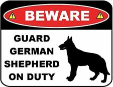 Beware Guard German Shepherd (Silhouette) on Duty Laminated Dog Sign