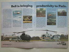 5/1977 PUB BELL HELICOPTER 222 AH-1S 214 LIFTER 206L PARIS AIR SHOW ORIGINAL AD