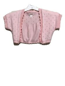 Cat And Jack Girls Pink Sweater Cardigan Shrug Short Sleeve Size S 4/5