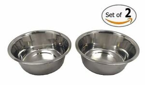 2-Pack - STAINLESS STEEL PET DOG CAT LARGE 52.4 Oz Food or Water BOWL DISH