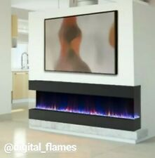 50 60 INCH DIGITAL FLAMES BLACK INSERT WALL MOUNTED GLASS ELECTRIC FIRE 3 SIDED