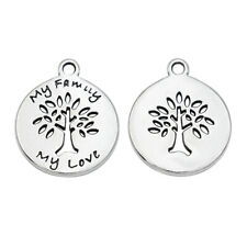 10pcs Antique Silver Family Tree Charm Jewelry Making Bracelet Accessories