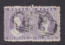 South Africa NATAL 1863 QV 6d wmk crown CC pf12½ SG24 FU fine used pair