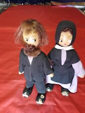 "Pin Wooden Dolls Amish 7"" Tall Set Of 2"