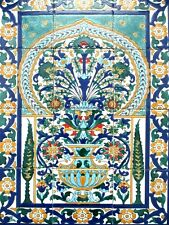 "Ceramic tile art Mosaic wall mural VASE FLORAL PINE TREES BACKSPLAH  18"" x 24"""