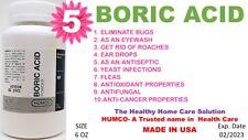 5 BORIC ACID POWDER by HUMCO 6 oz ANTI-FUNGAL, ANTI-CANCER Exp. Date 02/2023 (5)