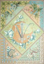 aus Gründen der Dekoration Jugendstil Blumen Dekoration Lithographie 19. Jhd.