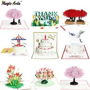 3D Pop-Up Cards Flowers Birthday Card Anniversary Gifts Postcard Unicorn Maple