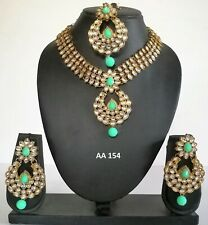 Bridal Necklace Earrings Sets Aa 154 Indian Fashion Kundan Green Jewelry Wedding