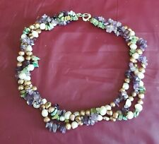Stunning 3-Strand Multi GemStone Necklace Amethyst Turquoise Brown & White Pearl