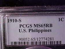 PHILIPPINES ONE CENTAVO 1910-S PCGS MS 65 RB