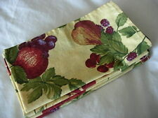 Set of 4 Yellow w/Dk.Red/Blue/Green Pears/Cherries/Grapes/Fru it Print Napkins