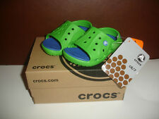 NEW CROCS TODDLER BOYS SHOES SLIP ONS FLATS size 6 / 7 LIME GREEN / SEA BLUE