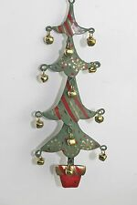 GISELA GRAHAM CHRISTMAS TIN FOUR TIERED TREE IN POT WITH JINGLE BELLS DECORATION