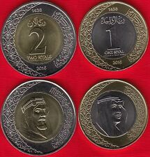 "Saudi Arabia set of 2 coins: 1 - 2 riyals 2016 ""Salman"" BiMetallic UNC"