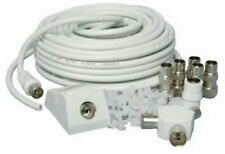15m Metre White  Satellite Sky HD+ Extension Cable Lead Coax Shotgun Fitted