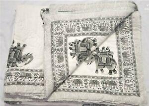 Wooden Block Printed Ethnic Quilt Elephant Print Reversible Queen Size Bedspread