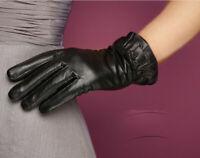 Women Genuine Leather Warm Winter Touch Screen Wrist Gloves Fleece Lining F273