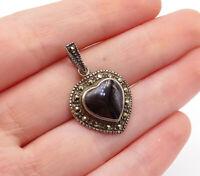 925 Sterling Silver - Vintage Black Onyx & Marcasite Love Heart Pendant - P10649