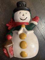"Vintage Christmas Ceramic Mold Frosty Snowman Light Up Figurine Holiday 8"""