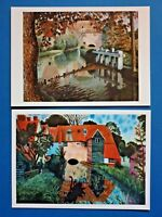 2 x Art Postcards, Tidmarsh Mill & Meadows by Dora Carrington c1918/20 78L