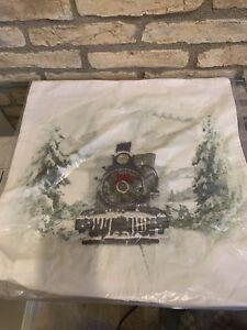 Pottery Barn NOSTALGIC SANTA TRAIN Pillow Cover 20  Square Christmas Holiday New