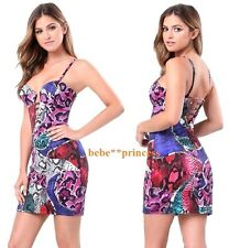 $139 NWT bebe snake printed strappy scuba cutout bustier top dress XS 0 2 club