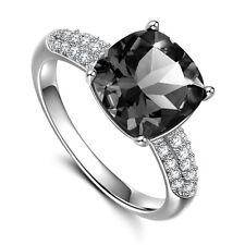 Fashion Round Cut 2.85ct Black Sapphire 925 Silver Wedding Ring Size 8