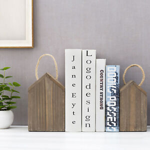 MyGift Vintage Gray Brown Wood House Shaped Decorative Bookends with Handles