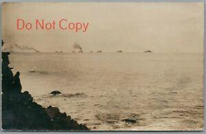 MONTEREY BAY, CALIFORNIA - 1908 P/U GREAT WHITE FLEET RPPC POSTCARD
