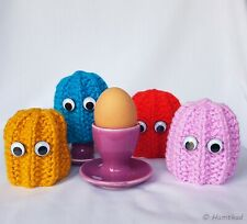 Set of 4, Hand Knit, Egg Cosy's, Inspired by Pacman, Ghosts, Retro, Gamer