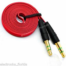 3.5mm Flat Male Stereo Audio Auxiliary AUX Cable for iPod Car Phone Red -b232