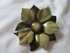 Vintage 60's  Metal Enamel 2 Tone Brown  Large Flower Pin /Brooch  3-1/2