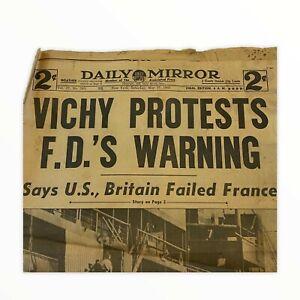 Vichy Protests F.D.'s Warning May 17, 1941 Daily Mirror AP Newspaper Original