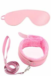 Pink Restraint Faux Leather Soft Furry Choker Neck Collar with Leash Blindfolded