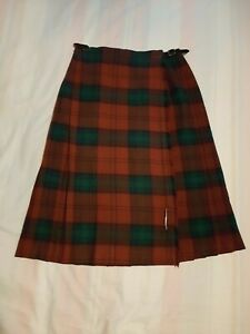 Clan Vintage Wool Mix Tartan Kilt Pleated Skirt Size 12